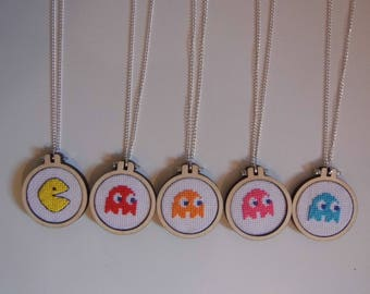 Pac-Man Cross Stitch Necklace - Ghosts and Pacman