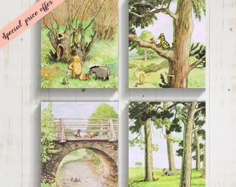 Winnie The Pooh Canvas Art Prints, Set of 4 CANVAS GALLERY WRAPS, New Baby Gift, Original Classic Winnie the Pooh Birthday Gift