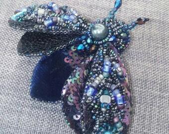 Velvet dark blue moth pin