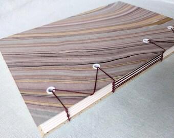 Lavender Marbled Mulberry Handbound Hardcover Coptic Journal Sketchbook Notebook - acid free sketch paper