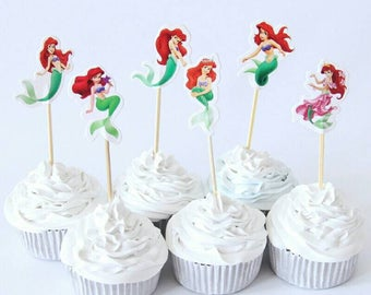 24 Mermaid cupcake or muffins Toppers. Birthday toppers.
