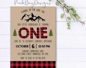 Lumberjack Invitation, Lumberjack Birthday Invitation, Lumberjack Party, Plaid Birthday Invite, Lumberjack Birthday, Woodland Birthday