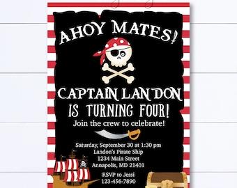 Pirate Birthday Invitation, Ahoy Pirate Invitation, Pirate Party, Pirate Invitation, Pirate Ship, Birthday Invitation, Pirate Invite