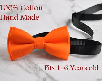 Boy Kids Baby Infant Page Boy 100% Cotton Hand Made ORANGE  Solid Bow Tie Bowtie Party Wedding 1-6 Years Old