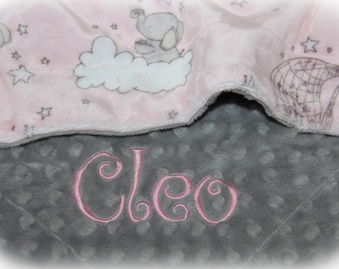 Personalized Baby Girl Blanket - Elephant Baby Blanket Girl - Pink Elephant Baby Shower - Elephant Baby Gift - Custom Baby Blanket - Minky