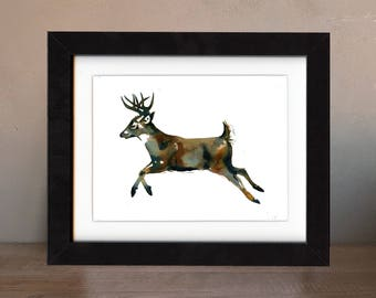 deer art print, deer artwork, deer gift idea, deer art, deer wall art, deer painting, deer artwork, wildlife art, art print, saltwatercolors