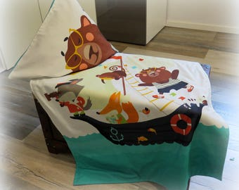 Cuddly blanket, bedspread, blanket with pillow case See friends