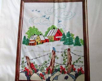 Crewel Embroidery Kit, Vintage Stitchery Kit, Pastorale Vintage Wonder Art Creative Needlecrafts Kit, Fences & Houses Crewel Embroidery Kit