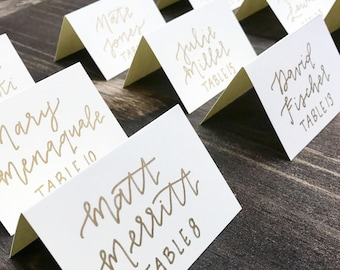 Ivory and Gold - Hand Lettered Place Cards
