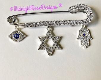 Jewish Stroller Pin | Stroller Pin | Star of David Stroller Pin | Swarovski Crystal Pin | Evil Eye Pin  | Baby Shower Gift | Bris Pillow