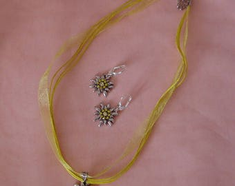 Cute German Edelweiss Set yellow leverback earrings with necklace crystals Oktoberfest Dirndl silver colored