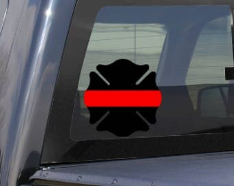 Thin Red Line Decal, Firefighter Decal, Thin Red Line Car Decal, Fireman Window Sticker, In memory of Decal, Fire Yeti Decal, Fire Sticker