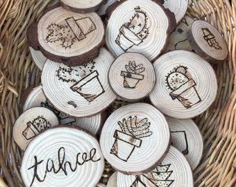 Succulent magnets, wooden fridge magnets, cacti magnets, cactus magnets, succulent fridge magnets, wooden round magnets, cactus fridge magne
