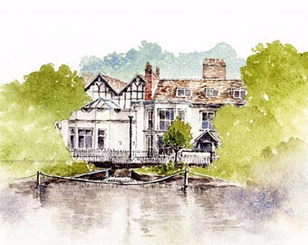 Watercolor Art Print, Honeywood Museum, English Architecture, English Heritage, Architecture Painting, Architecture Drawing