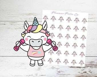 Unicorn Planner Stickers // Workout // Weightlifting // Exercise