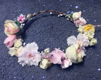 Pink and Yellow Flower Crown