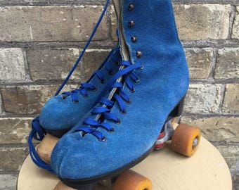 Size 6 Retro Blue Suede Ladies Roller Skates