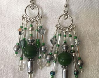 Chandelier earrings Green and Silver length 2 1/2""