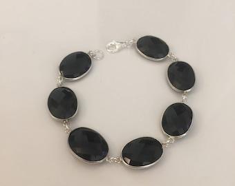 Silver bracelet 925 and onyx Stone