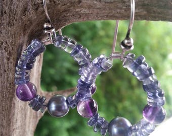 Earrings | Amethyst, Iolite, Freshwater Pearl | Sterling Silver