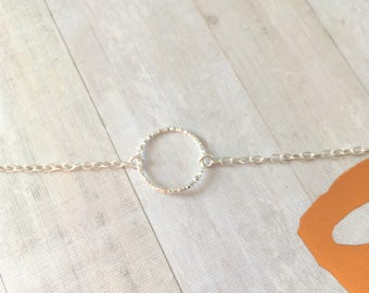 Dainty Diamond Cut Sterling Silver Circle Bracelet - Karma - Small - Gift - Bridesmaid Gift - Friend -  Sister - S015
