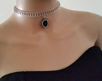 Silver Metal Choker for Women / Choker with Pendant Black Faceted Natural stone  / Punk & Tattoo Choker / Teacher Christmas  Gift / Chokers