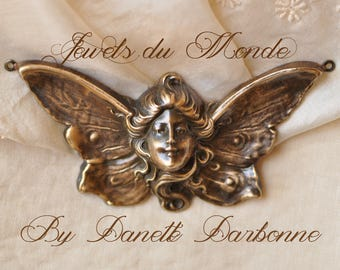 Art-Nouveau Woman Goddess Butterfly Lady Woman Pendant or Brass Stamping Antiqued Made in USA