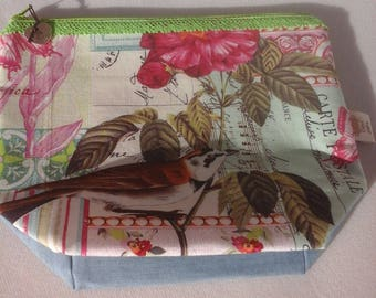 Project Bag, Bird and Pink Flowers
