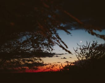 Sunset and Crescent Moon over Texas