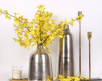 "Luxury Silk Oncidium Orchid Stem in Yellow 28"" Tall (Set of 2)"