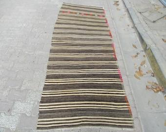 3.4x9.3Ft Vintage Brown And White Striped Goat Hair Kilim Runner Rug