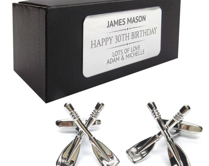Rowing oars CUFFLINKS 30th, 40th, 50th, 60th, 70th birthday gift, presentation box PERSONALISED ENGRAVED plate - 037