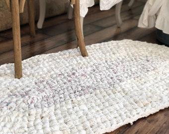 Crochet Rug - Shabby Chic Rug - White Purple Flower Rag Rug - Handmade Rug - Nursery Rug - Kids Rug