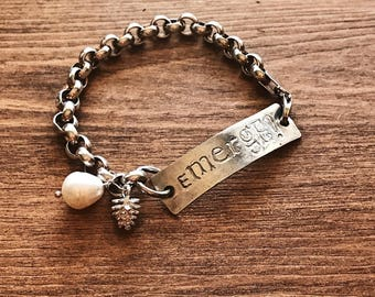 Hand Crafted Silver ID Bracelet Let Yourself EMERGE