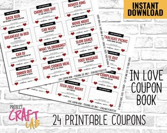 Valentines Gift, Coupons for Couples, Love Coupon Book, Coupon Book, Printable Coupon, Anniversary Coupon Book, Valentines Coupons