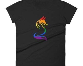 Rainbow Pride Fox Women's short sleeve t-shirt lgbtq lgbt lgbtqipa queer gay transgender mogai