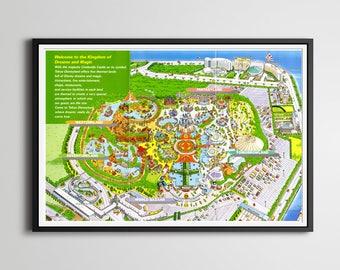 Vintage DISNEY WORLD Park Map Poster X Or - Disneyland brazil map