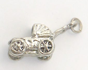 Vintage Baby Buggy Stroller /Carriage Charm in Sterling Silver