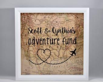 Personalized Adventure Fund Vintage Map | Engagement Gift | Bridal Shower Wedding Gift | Travel Memory Box Savings