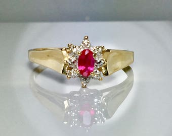 10k solid gold natural Ruby ring