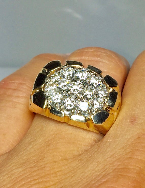 BIG 14k Gold Men s Nug Diamond Ring Cool Gold