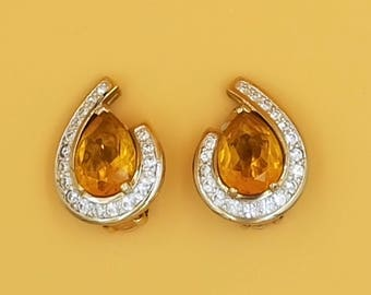 1980s Panetta Teardrop Shaped Amber and Rhinestone Earrings, Gold Tone Clip On Earrings, Statement Earrings, 1980s Glam