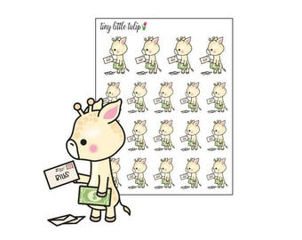 Planner Stickers Giraffe Pay Bills