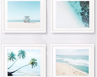 Print Set of 4 nautical decor ocean photography, beach prints, tropical art beach photo coastal prints seascape wall art print set download