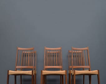 Set of Six Original Vintage Mid Century Danish Teak & Paper Cord Dining Chairs