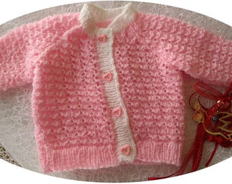 Baby Cardigan hand knitted, pink white 0-6 months