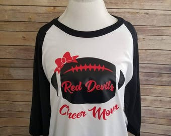 Cheer Mom Football Shirt with Last Name on Back