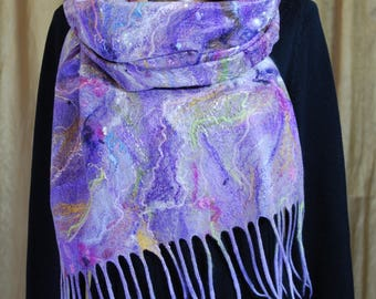 Lilac Scarf with White and Colored Silk Threads, Tender Purple Shawl with an Abstract Pattern, Purple Felted Shawl with a Gentle Pattern