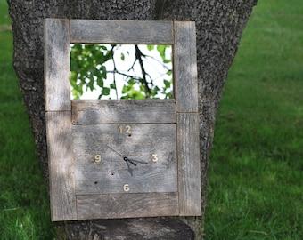 Barn wood mirror clock / reclaimed wood