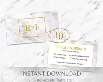 White Marble and Gold Business Card Template